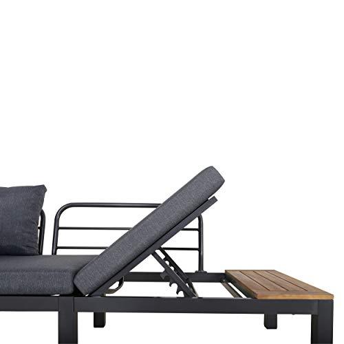 Chicreat Three-Seat Convertible Sofa with FSC Acacia Side Table, 270 x 78 x 86cm - 4