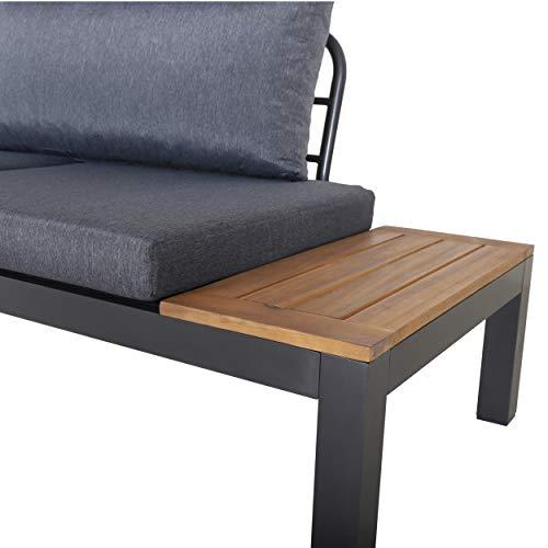Chicreat Three-Seat Convertible Sofa with FSC Acacia Side Table, 270 x 78 x 86cm - 5