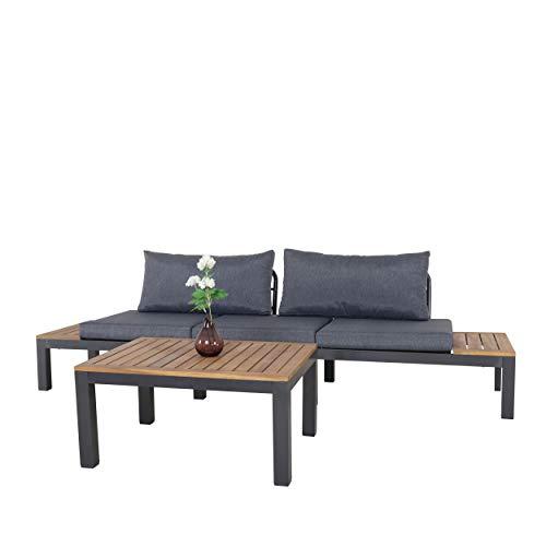 Chicreat Three-Seat Convertible Sofa with FSC Acacia Side Table, 270 x 78 x 86cm - 10